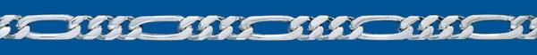 Cadena de plata BARBADA PROGRAMADA (1X3) Lapidada 4 Caras
