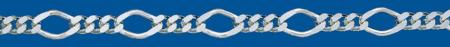 Cadena de plata BARBADA PROGRAMADA ROMBO (1X3)