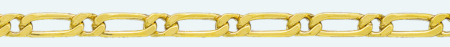 FIGARO Brass gold plated chain (1X1) 4 sided diamond cut