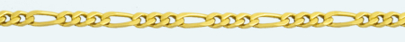 FIGARO Brass gold plated chain (1X3) 4 sided diamond cut