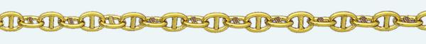 Cadena latón chapada en oro ANCLA Sin Lapidar